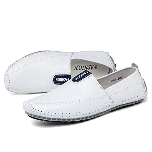 AFFINEST Slip-on Cuir Mocassins Conduite Chaussures Casual Bateau Chaussures Blanc
