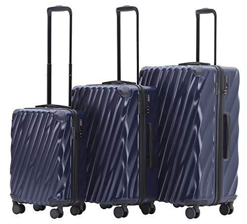 Münicase MÜNICASE TSA Schloß Handgepäck Trolley Koffer-Set Reisekoffer (Dunkelblau, 3er Set)