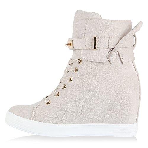 Damen Sneakers Sneaker-Wedges Keilabsatz Metallic Sportschuhe Creme