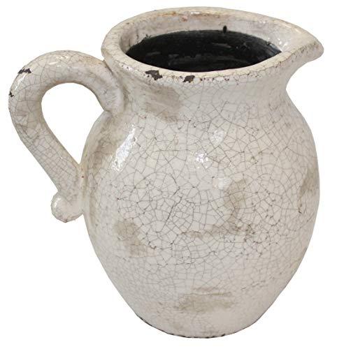Distressed Antik Farbige Keramik Blumen Krug antik-weiß