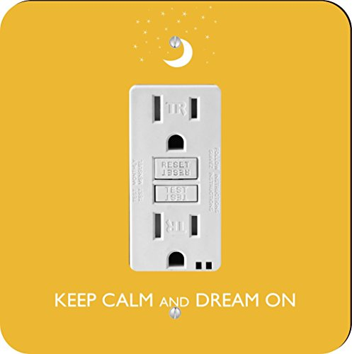 Rikki Knight Keep Calm and Dream on-yellow Farbe Single GFI Lampe Switch Plate (Yellow Wall Plate)