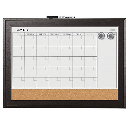 Quartet Dry Erase Calendar Board, Magnetic, Combination Dry Erase & Cork, 17 x 23 Inches, Black Frame (79275) by Quartet (Black Dry Erase Board)