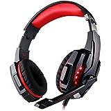 multifun G9000 Gaming Kopfhörer PS4 3,5mm Stereo Gaming Headset PC mit LED Licht Mikrofon In-line Lautstärkeregler für Playstation 4 PC Tablet Smartphone, Schwarz und Rot mit Verpackung