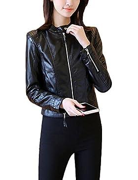 Chaqueta de Cuero de la PU Para Mujer Cierre con Cremallera Slim Fit Chaqueta de Motorista - Negro / XL