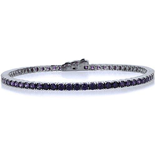 Bracelet Tennis Femme 14 ct Or Blanc 585/1000 2.5mm 3.6 ct. Rond Oxyde de Zirconium Amethyst