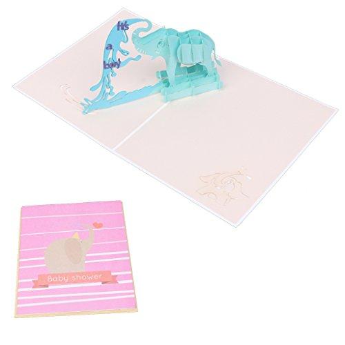 rawuin handgefertigt 3D Elefant pop up Grußkarte Baby Dusche Taufe Taufe Geschenk (# 082)