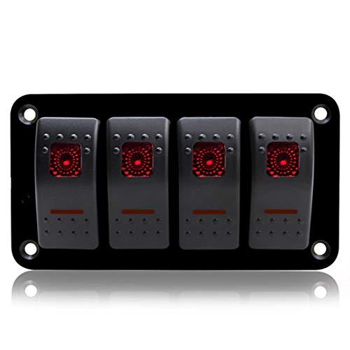 4 Gang Auto Marine Caravan LED Schalter Panel Breaker Professionelle Wippschalter Bedienfeld Wasserdichte Schaltung - Marine Breaker Panel