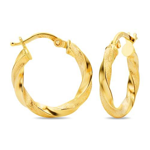 18 Karat 750 Gold Kleine Gedrehte Teilmattiert Creolen Italienisch Ohrringe Gelbgold - 19053 (Ohrringe Gold 18k)