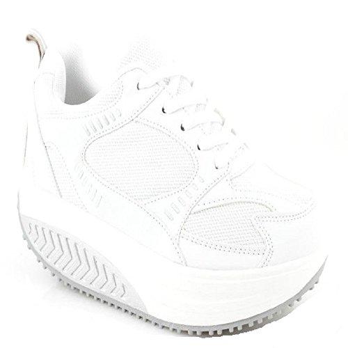 Calzature Attive Per Donna, Per Rassodare I Glutei Per Il Benessere, Lo Sport, Il Fitness, Con Suola Arrotondata Bianco / Bianco