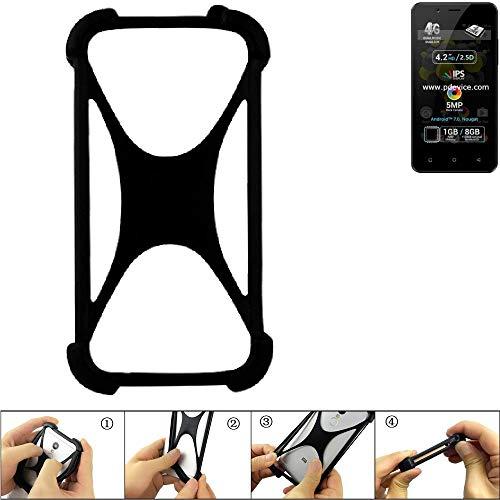 K-S-Trade Handyhülle für Allview P4 Pro Schutz Hülle Silikon Bumper Cover Case Silikoncase TPU Softcase Schutzhülle Smartphone Stoßschutz, schwarz (1x)