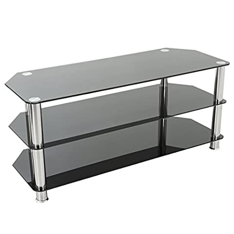 Gloss Black Glass TV Stand for LED, LCD, Plasma, Curved TVs, (100cm, Silver without Cable