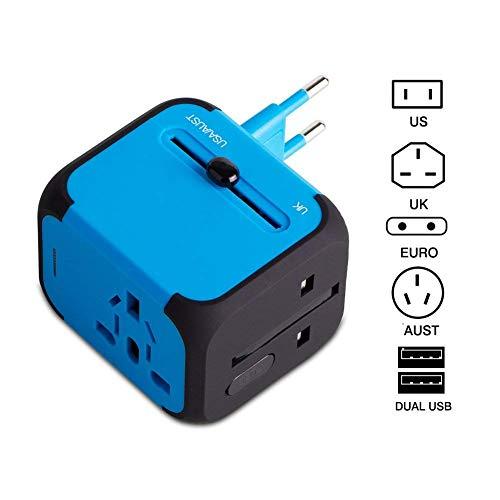 Adattatore da Viaggio con 2 USB 3.0 (US/EU/UK/AU) Adattatore Universale da Viaggio con due fusibile (fusibile di ricambio) Utilizzati in più di 150 paesi Caricabatterie -(Blu)