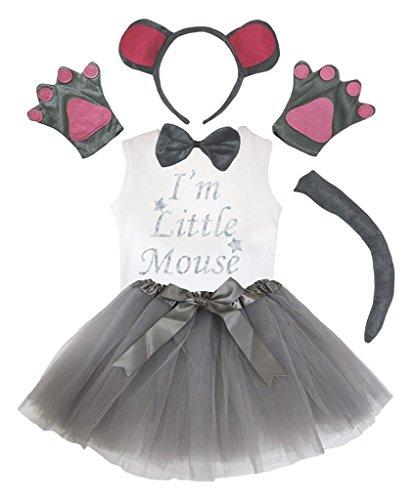 Petitebelle Stirnband Bowtie Schwanz Handschuhe Hemd Rock 6pc Mädchen-Kostüm 3-4 Yr graue Maus (Mädchen Graue Maus Kostüm)