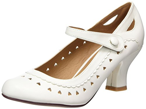 Chaussures escarpins babies classique cœur découpée femmes petit talon taille Blanc mat