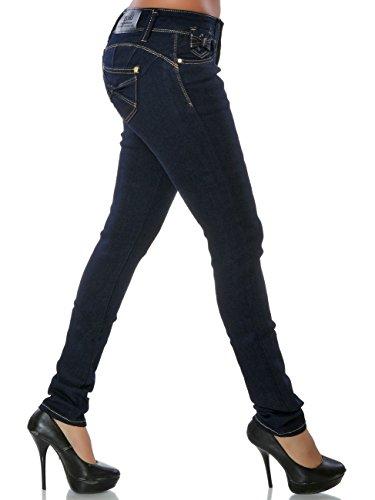 Damen Jeans Hose Skinny Push-Up Röhre No 15835 Blau