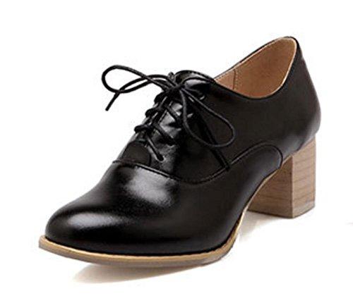 Frau im Frühjahr und Herbst rund Aufzug Schuhe Spitze Schuh Retro-Schuhe Freizeitschuhe mit Frauen Black