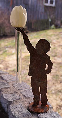 Dekostüberl Edelrost Junge Finn mit Halterung für Reagenzglas 20cm, inkl. Herz 8x6cm auf Platte Garten