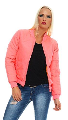 CBKTTRADE Damen Bomberjacke Pilotenjacke Fliegerjacke Daunenjacke Schwarz Navy Khaki Pink Rosa S/M M/LGesteppt (S/M, Pink)