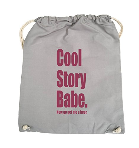 Comedy Bags - Cool Story Babe now get me a beer - Turnbeutel - 37x46cm - Farbe: Schwarz / Pink Hellgrau / Fuchsia
