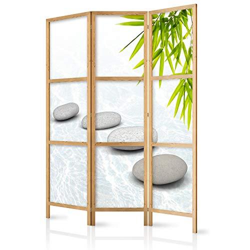 murando - Paravent Spa Zen Orient 135x171 cm - 3-teilig - einseitig - eleganter Sichtschutz - Raumteiler - Trennwand - Raumtrenner - Holz - Design Motiv - Deko - Japan p-C-0016-z-b
