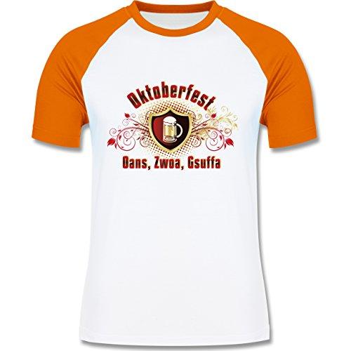 Oktoberfest Herren - Oans, Zwoa, Gsuffa - zweifarbiges Baseballshirt für Männer Weiß/Orange