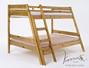 Verona Design Marilleva Triple Bunk Bed With Antique Pine Wood Finish Suitable For Children