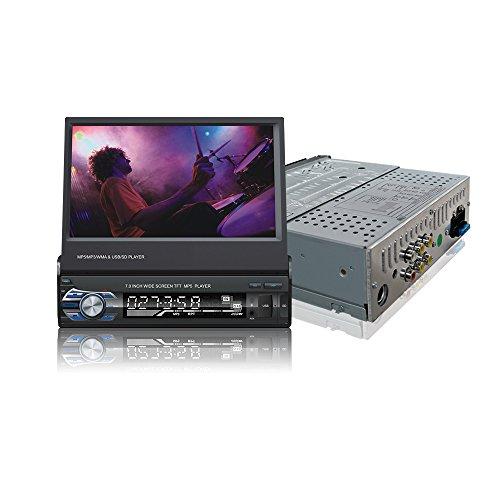 Ezonetronics Indash Autoradio 7 Zoll Slip Down 1DIN Auto Stereo FM Nur Bluetooth MP3 MP4 Player mit USB/SD Port + Fernbedienung 9601 Mp3 Mp4 Stereo