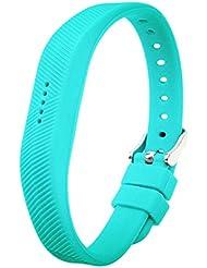Fitbit Flex 2bandas, goodlucking suave silicona hebilla de repuesto cinta de muñeca diseño de fitness con hebilla de metal para Fitbit Flex2, Azul verdoso
