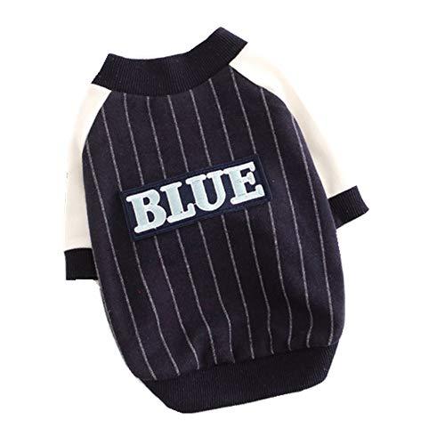 Y-pet Pullover Hund Hundebekleidung Striped Baseball Uniform Baumwolle Stretch Puppy Wei Kleidung Kleidung für Hunde (Farbe : Blau, Größe : L) -