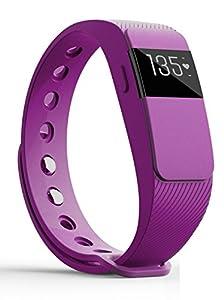 Beyang id111hr Smart Band Fitness Activity Tracker Smart Pedometer Schrittzähler Armband mit Herz Rate Monitor, Call/MSM Reminder, Bluetooth 4.0 Fitness Band Männer Frauen Damen Kinder Erwachsene Regenten (PURPLE)