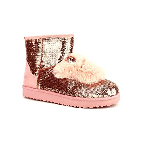 Cendriyon Boots Fourrées Paillettes Pink MULANKA Chaussures Femme Rose