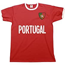 Buzz Shirts Mens Portugal Name Ringer Retro T-Shirt Camiseta para Hombre  Sports Football Patriotic 05254714af4bb