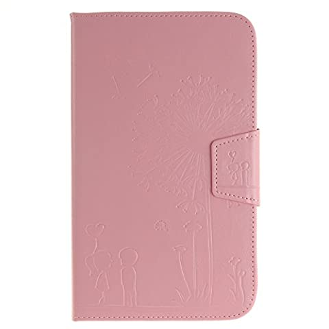 GHC Taschen & Hüllen, Löwenzahn-Präge-Blumen-Muster-Normallack-Mappen-Standplatz-Fall-Abdeckung für Samsung-Vorsprung 3 8.0 Zoll T310 T311 ( Color : Pink , Size : -Samsung Tab 3 8.0 Inch T310 T311 )