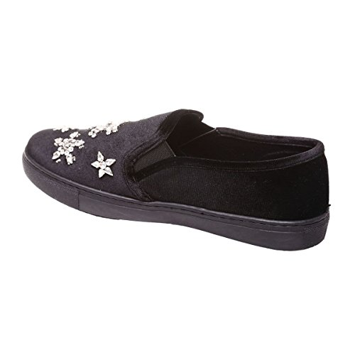 La Modeuse - Slip-on en velours bijoux fantaisies Noir
