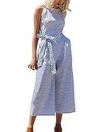 DEELIN Jumpsuit Damen Sommer Lose Sleeveless Gestreifter Overall-zufälliger  Clubwear Wide Leg Pants Outfit c8cce75b77