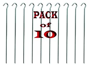 """BRAND NEW 10 HEAVY DUTY TENT PEGS - 4.5mm WIDE / 9"""" LONG - MADE FROM GALVANISED STEEL - CURVED HOOK ON TOP - CAN REUSE AGAIN AND AGAIN"""