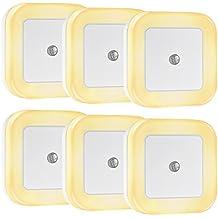 Lámpara Pared LED 0.5W 4LED 40Lum 6pcs,TopElek iluminación Pared Quitamiedos Enchufe Consumen Bajo con Sensor de Luz, Iluminación de Pared para