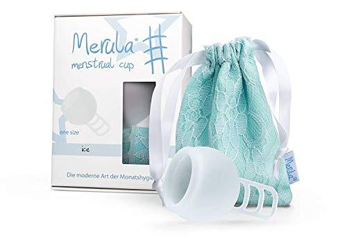 Merula Cup ice (transparent) - One size Menstruationstasse aus medizinischem Silikon (Ringe Bauch Kleinen)