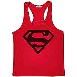 Tank Top Hombre de Tirantes Camiseta Deportiva. Camisas Fitness sin Mangas. (Logo Superman roja/Negro) - M