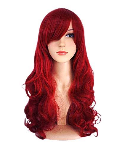 ATAYOU® Lange Damen Rot Synthetische Cosplay Perücke für Frauen mit 1 Freie Perücke Kappe