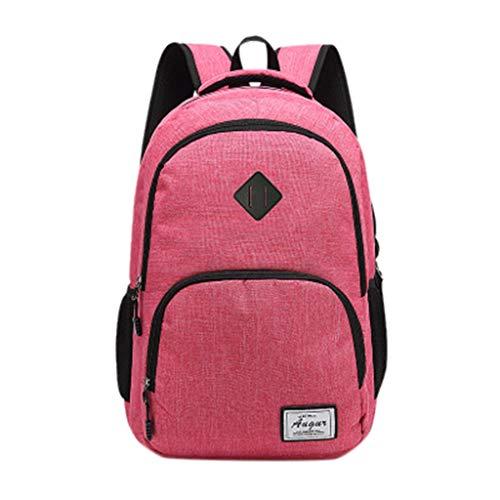 TAMALLU Frauen Einfache Umhängetasche Student Rucksack Reißverschluss Computer Tasche Handtasche(Rosa) -