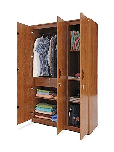 Zuari Three-Door Wardrobe (Natural Finish, Brown)  available at amazon for Rs.19750
