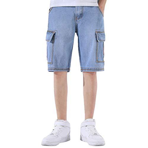 Herren Jeans-Shorts fünf Hosen Elastischen Sommer Dünnschliff Jeans-Hosen Männer Verlieren Gerade Flut Flut Slim (30, Hell blau) -