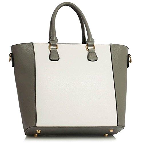 """xardi London 13""""Borsa collegio da viaggio lucchetto Donna Borsa a tracolla Ecopelle Liscia Grey/White"""