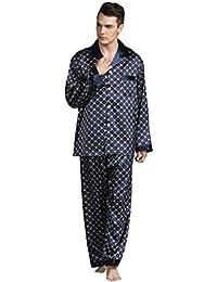 Rosatro Men's Silk Pajamas Suit Comfortable Home Long-Sleeved Printed Sleepwear Nightwear Sets