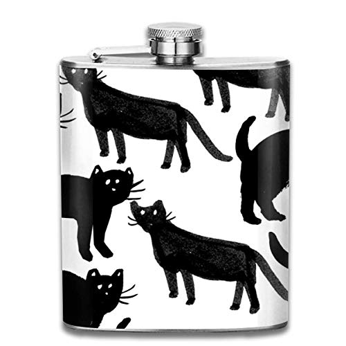 FGRYGF Edelstahlflasche Halloween Cat Fashion Portable Stainless Steel Flachmann Whiskey Bottle for Men and Women 7 Oz