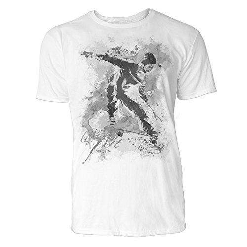 Skateboarder Sinus Art ® Herren T Shirt ( Schwarz Weiss ) Sportshirt Baumwolle (Skateboard Von Bam Margera)