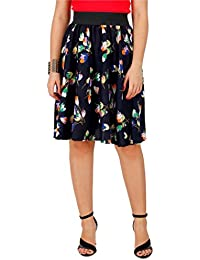 NAVY BLUE MULTI FLORAL PRINT SKIRT