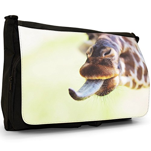 African giraffa–Borsa Tracolla Tela Nera Grande Scuola/Borsa Per Laptop Giraffe With Tongue Out