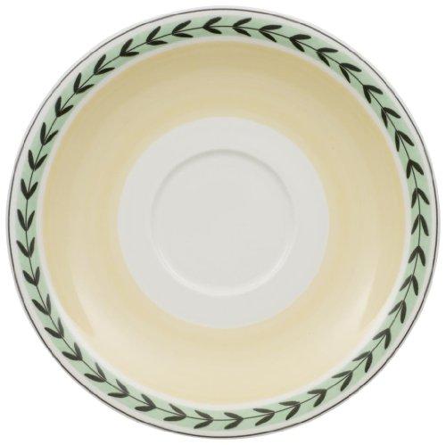 Villeroy & Boch Charm & Breakfast French Garden Café au Lait-Untertasse, 20 cm, Premium Porzellan, Weiß/Bunt -